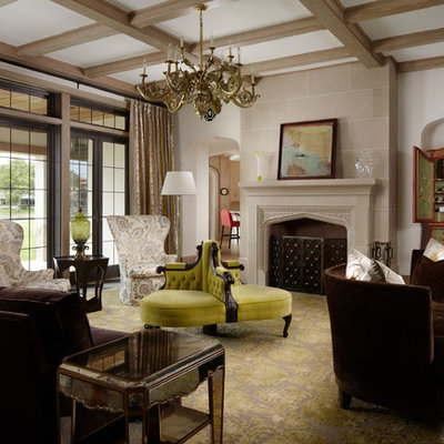 Large elegant formal and enclosed living room photo in Miami with a stone fireplace, white walls and a standard fireplace