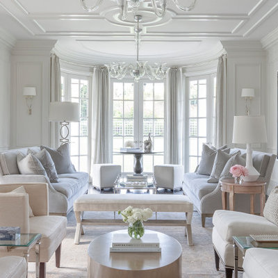 Inspiration for a large timeless formal and enclosed dark wood floor and brown floor living room remodel in San Francisco with white walls