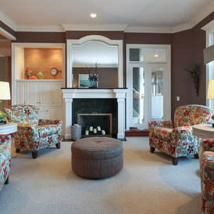 Example of a mid-sized classic open concept carpeted and beige floor living room design in Grand Rapids with a music area, brown walls, a standard fireplace, a stone fireplace and no tv