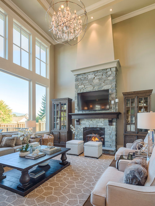 Inspiration For A Mid Sized Timeless Open Concept Dark Wood Floor Living Room Remodel In