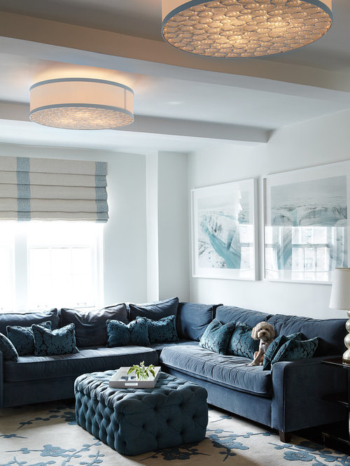 Grey And White Family Room Part - 34: Houzz Blue Family Room Design Ideas U0026 Remodel Pictures