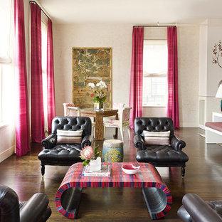 Modelo de salón para visitas abierto, de estilo zen, grande, sin televisor, con suelo de madera oscura, paredes multicolor, chimenea tradicional, marco de chimenea de hormigón y suelo marrón
