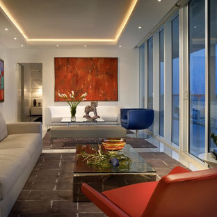 Inspiration for a large contemporary living room remodel in New York with white walls