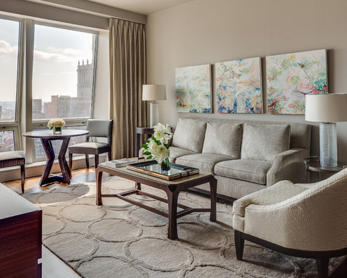 Contemporary Living Room Idea In New York With Beige Walls Part 41