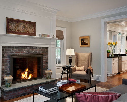 Traditional Enclosed Living Room Idea In New York With Beige Walls, A  Standard Fireplace,