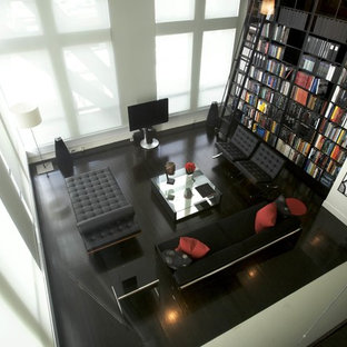 Living room library - contemporary living room library idea in Boston with no fireplace and a tv stand