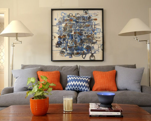 Orange blue and grey living room for Blue and orange room