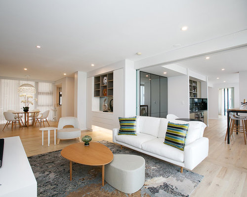 This Is An Example Of A Contemporary Open Concept Living Room In Newcastle