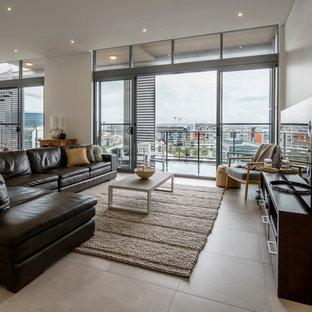 Living Room   Large Scandinavian Open Concept Concrete Floor Living Room  Idea In Newcastle   Maitland