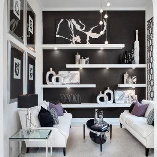 Foto di un soggiorno minimal con pareti nere, pavimento con piastrelle in ceramica e pavimento bianco