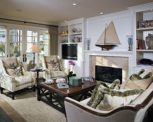 Inspiration For A Beach Style Living Room Remodel In Orange County With A  Standard Fireplace And