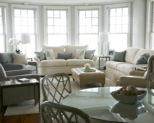 Exceptional Transitional Living Room Idea In New York With Gray Walls Part 4