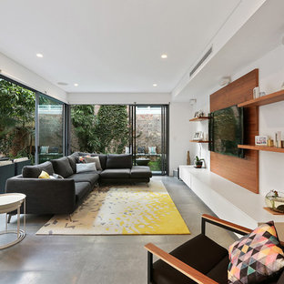 Design ideas for a contemporary enclosed living room in Sydney with brown walls, concrete flooring, no fireplace, a wall mounted tv and grey floors.