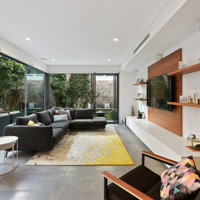 Living room - contemporary enclosed concrete floor and gray floor living room idea in Sydney with brown walls, no fireplace and a wall-mounted tv