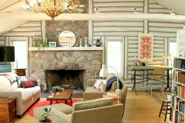 My Houzz A Surprisingly Light Lakeside Log Cabin