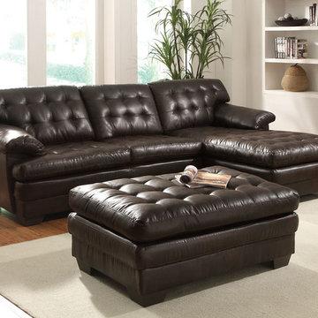 Nigel Sectional Sofa, Dark Brown Bonded Leather Match