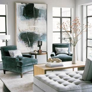 サンフランシスコのトランジショナルスタイルのおしゃれなリビング (白い壁、テレビなし) の写真