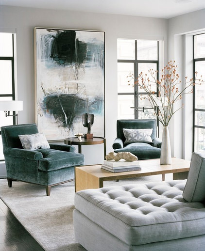 transitional living room by Leverone Design Inc