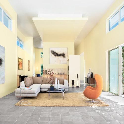 Salon contemporain avec un sol en carreau de terre cuite for Un carreau de terre