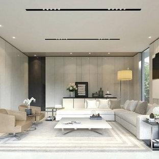 ニューヨークの広いモダンスタイルのおしゃれな独立型リビング (白い壁、磁器タイルの床、埋込式メディアウォール、白い床) の写真