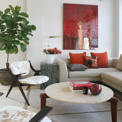 Inspiration for a contemporary carpeted living room remodel in New York with white walls
