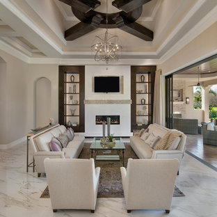 This is an example of a medium sized contemporary formal open plan living room in Miami with beige walls, a ribbon fireplace, a built-in media unit and white floors.