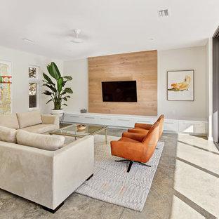 Idee per un grande soggiorno minimalista chiuso con pareti bianche, TV a parete, pavimento grigio, pavimento in cemento e nessun camino