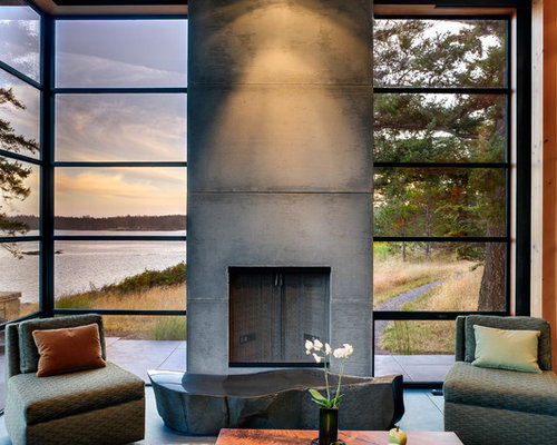 Mid Sized Modern Open Concept Living Room Idea In Seattle With A Concrete Fireplace Surround