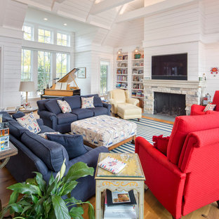 Inspiration for a beach style living room in Omaha.