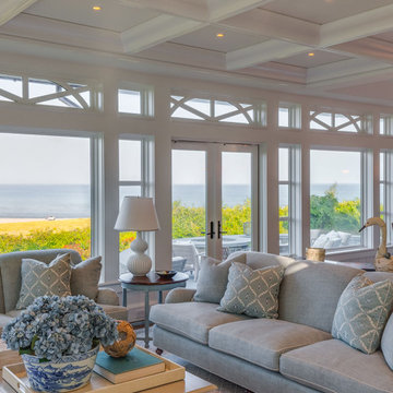 North-by-Northeast Living Room with an Ocean View - Custom Cape Cod Home