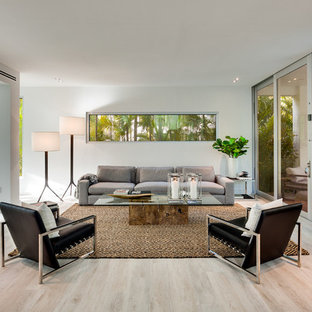 Inspiration For A Contemporary Beige Floor Living Room Remodel In Miami  With White Walls