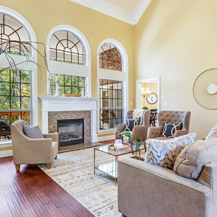 Inspiration For A Timeless Formal Medium Tone Wood Floor Living Room Remodel In Other With Yellow