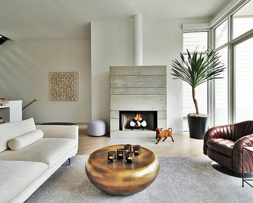 Captivating Large Contemporary Formal And Open Concept Light Wood Floor Living Room  Idea In Los Angeles With Part 9