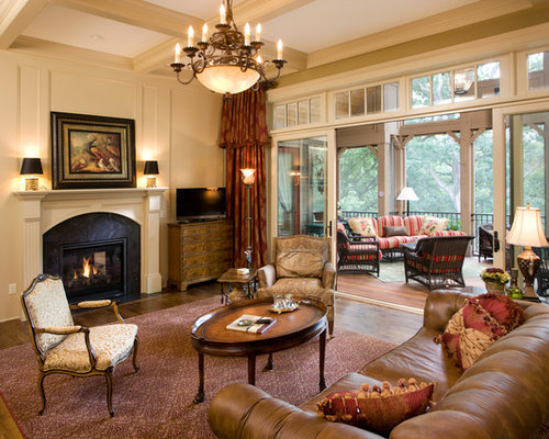 Example Of A Large Classic Open Concept Medium Tone Wood Floor Living Room  Design In Minneapolis Part 90