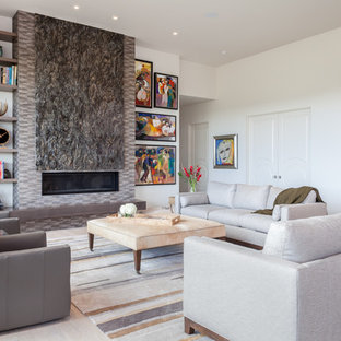 Inspiration For A Large Contemporary Light Wood Floor And Beige Floor Living  Room Remodel In Other