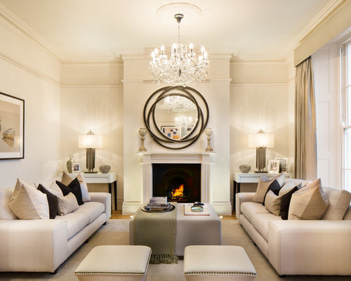Transitional Formal And Enclosed Light Wood Floor Living Room Photo In  London With Beige Walls And