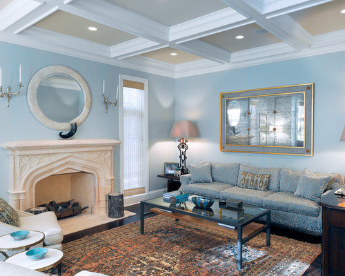 Good Traditional Formal Living Room Idea In Chicago With Blue Walls And A  Standard Fireplace