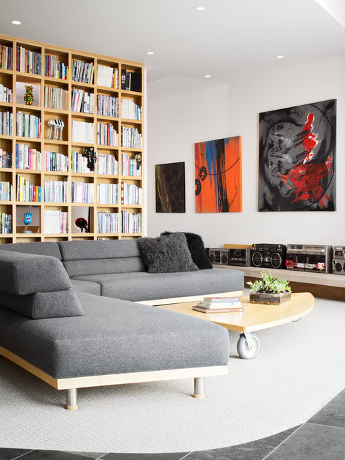 Trendy Living Room Library Photo In Vancouver
