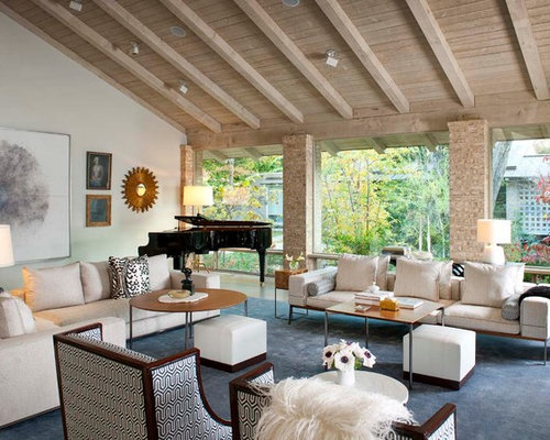 Example Of A Large Trendy Living Room Design In Dallas With Music Area