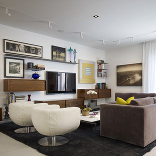 Inspiration for a contemporary living room remodel in Chicago with white walls and a wall-mounted tv