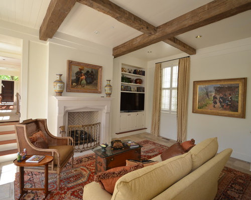 Inspiration for a timeless living room remodel in Atlanta with beige walls  and a built- - Beam Ceiling Houzz