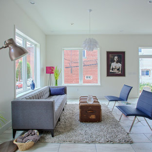 Living room - transitional formal ceramic floor living room idea in Other with white walls