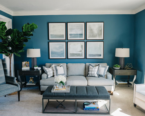 fun living room chairs houzz family room. Living Room - Beach Style Carpeted And Beige Floor Idea In Detroit With Blue Fun Chairs Houzz Family Y