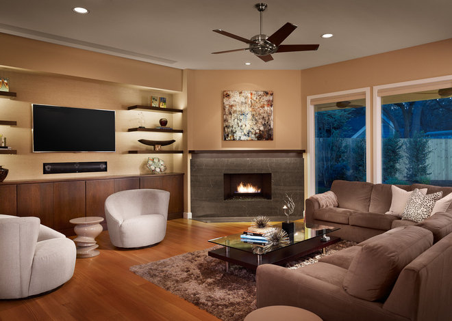 contemporary family room by Laura Burton Interiors