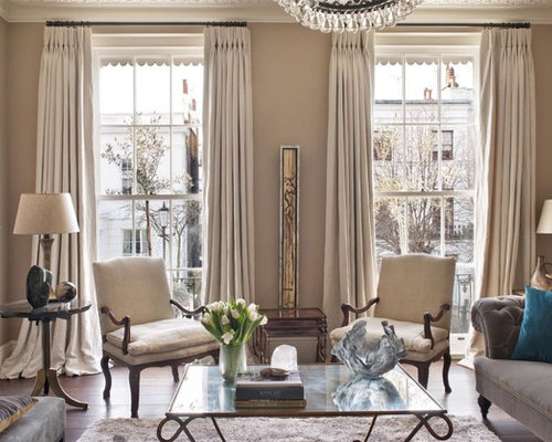 Inspiration For A Classic Formal Living Room In London With Brown Walls And  Dark Hardwood Flooring Part 86