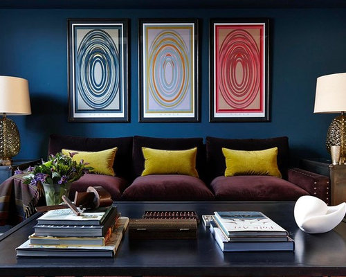 Example Of A Trendy Living Room Design In London With Blue Walls