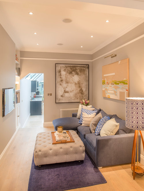 Small transitional living room photo in london with gray walls