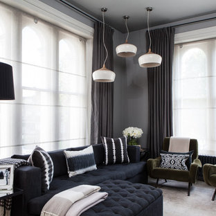 Living room - contemporary formal living room idea in London with gray walls