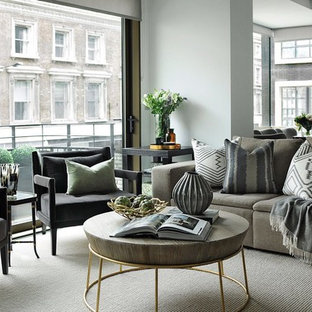 Inspiration For A Medium Sized Traditional Open Plan Living Room In London  With Carpet, Grey