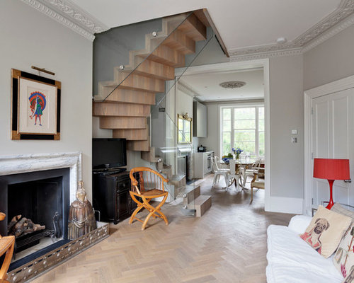 This Is An Example Of A Bohemian Formal Enclosed Living Room In London With Grey Walls